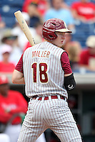 Florida State Seminoles Seth Miller #18 at bat during a scrimmage against the Philadelphia Phillies at Brighthouse Field on February 29, 2012 in Clearwater, Florida.  Philadelphia defeated Florida State 6-1.  (Mike Janes/Four Seam Images)