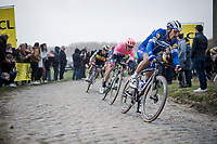 Philippe GILBERT (BEL/Deceuninck-Quick Step) at the front of the lead group, ahead of Sep Vanmarcke (BEL/EF Education First) and Quick-Step teammate Yves Lampaert (BEL/Deceuninck-Quick Step).<br /> <br /> 117th Paris-Roubaix 2019 (1.UWT)<br /> One day race from Compiègne to Roubaix (FRA/257km)<br /> <br /> ©kramon