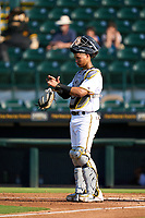 Bradenton Marauders catcher Endy Rodriguez (5) during a game against the Daytona Tortugas on June 9, 2021 at LECOM Park in Bradenton, Florida.  (Mike Janes/Four Seam Images)