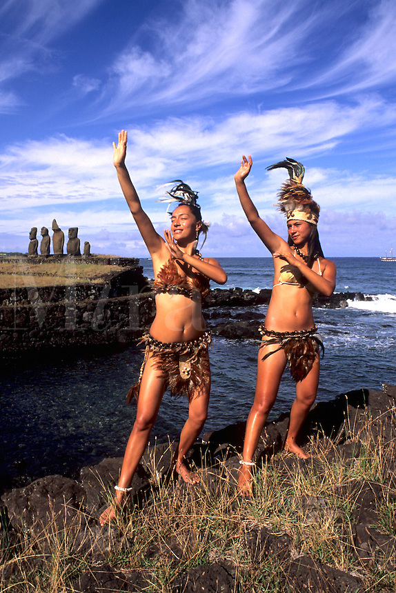 Women in Costume at Tahai Platform in Easter Island during Tapati Festival Rapa Nui