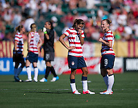 Tobin Heath, Amy Rodriguez.  The USWNT defeated Costa Rica, 8-0, during a friendly match at Sahlen's Stadium in Rochester, NY.