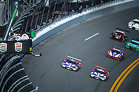 28-31 January, 2016, Daytona Beach, Florida USA<br /> GTLM start: 1967 24 Hours of Le Mans winner A. J. Foyt, Jr. (in a Ford GT 40 Mark IV) flies the green flag over the duo of Ford GT's to mark the Ford GT's official return to Internationl competition. #67, Ford, GT, GTLM, Ryan Briscoe, Richard Westbrook, Stefan Mucke and #66, Ford, GT, GTLM, Joey Hand, Dirk Muller, Sebastien Bourdais<br /> ©2016, F. Peirce Williams