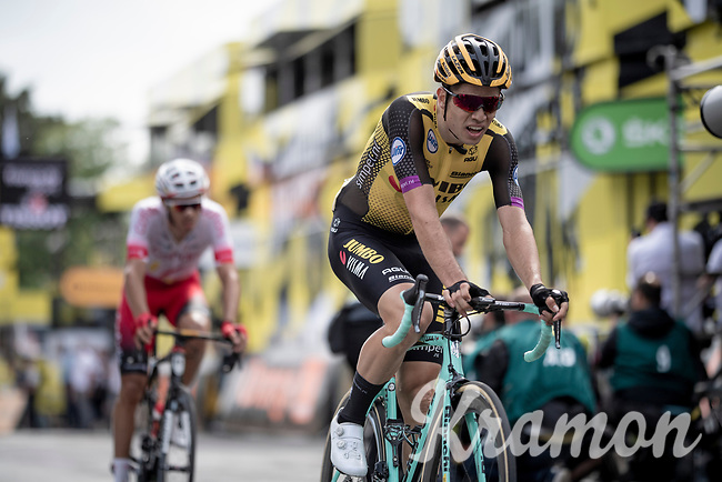 Wout van Aert (BEL/Jumbo - Visma) crossing the finish line in Brussels<br /> <br /> Stage 1: Brussels to Brussels(BEL/192km) 106th Tour de France 2019 (2.UWT)<br /> <br /> ©kramon