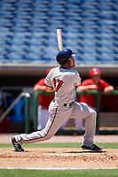 Fort Myers Miracle shortstop Joe Cronin (17) follows through on a swing during a game against the Clearwater Threshers on April 25, 2018 at Spectrum Field in Clearwater, Florida.  Clearwater defeated Fort Myers 9-5.  (Mike Janes/Four Seam Images)