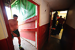 Stamford AFC 2 Marine 4, 29/03/2014. Wothorpe Road, Northern Premier League. The tunnel area after The Northern Premier League game between Stamford AFC and Marine from The Daniels Stadium. Marine won the game 4-2 in front of 320 supporters to boost their chances of relegation survival. Stamford AFC are moving to the brand new Zeeco Stadium at the end of the 2013/14 season. Photo by Simon Gill.