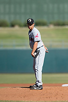 Glendale Desert Dogs starting pitcher Justin Garza (34), of the Cleveland Indians organization, looks in for the sign during an Arizona Fall League game against the Surprise Saguaros at Surprise Stadium on November 13, 2018 in Surprise, Arizona. Surprise defeated Glendale 9-2. (Zachary Lucy/Four Seam Images)