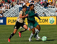 FC Gold Pride forward Christine Sinclair (12) and Saint Louis Athletica defender Kia McNeill (6) during a WPS match at Anheuser-Busch Soccer Park, in St. Louis, MO, July 26, 2009.  The match ended in a 1-1 tie.