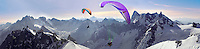 Paragliders over the Alguille du Midi for the Mont Blanc Massif, Chamonix Mont Blanc, France