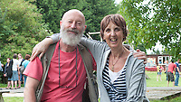 """Zoe Readhead, A.S.Neill's daughter and current Head, with photographer John Walmsley, whose book """"Neill & Summerhill: a man and his work"""" was published by Penguin Books in 1969, at the reunion for Summerhill School's 90th birthday celebrations."""
