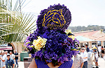 DEL MAR, CA  JULY 16: Breeders Cup decorated hat and the lady that made it.<br />   (Photo by Casey Phillips/ Eclipse Sportswire/ CSM)