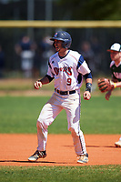 FDU-Florham Devils third baseman Josh DellaPietro (9) leads off second base during the first game of a doubleheader against the Farmingdale State Rams on March 15, 2017 at Lake Myrtle Park in Auburndale, Florida.  Farmingdale defeated FDU-Florham 6-3.  (Mike Janes/Four Seam Images)
