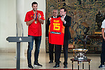 The reception of Prime Minister Mariano Rajoy to Spain national basketball team gold at EuroBasket 2015 at Moncloa Palace in Madrid, 21 September, 2015.<br /> Felipe Reyes delivers shirt with the number of Mariano Rajoy.<br /> (ALTERPHOTOS/BorjaB.Hojas)