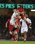 Fullbacks Mike Brown and Leigh Halfpenny compete for the high ball.<br /> 2015 RBS 6 Nations<br /> Wales v England<br /> Millennium Stadium <br /> 06.02.15<br /> ©Steve Pope -SPORTINGWALES