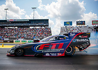 Sep 26, 2020; Gainesville, Florida, USA; NHRA funny car driver Paul Lee during qualifying for the Gatornationals at Gainesville Raceway. Mandatory Credit: Mark J. Rebilas-USA TODAY Sports