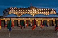 France, Calvados (14), Côte Fleurie, Deauville, la plage , ses parasols et l' Hôtel Royal Barrière // France, Calvados, Côte Fleurie, Deauville, the beach ,  its beach umbrellas and  in the background the Hotel Royal Barrière