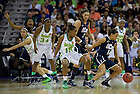 Apr 7, 2013; Notre Dame battles against Connecticut during the semifinals of the 2013 NCAA women's basketball Final Four at the New Orleans Arena. Connecticut defeated Notre Dame 83 to 65. Photo by Barbara Johnston/ University of Notre Dame