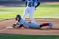 Great Lakes Loons first baseman Deacon Liput (10) slides into third base against the West Michigan Whitecaps at LMCU Ballpark on May 11, 2021 in Comstock Park, Michigan. (Andrew Woolley/Four Seam Images)