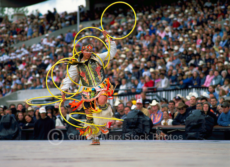 Native American Indian Hoop Dancer performing Hoop Dance at Calgary Stampede, Calgary, Alberta, Canada - Editorial Use Only