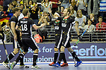 Berlin, Germany, February 10: During the FIH Indoor Hockey World Cup semi-final match between Germany (black) and Iran (white) on February 10, 2018 at Max-Schmeling-Halle in Berlin, Germany. Final score 6-2. (Photo by Dirk Markgraf / www.265-images.com) *** Local caption *** Danny NGUYEN #10 of Germany, Fabian PEHLKE #23 of Germany, Ferdinand WEINKE #18 of Germany