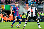 Sergi Roberto Carnicer (L) of FC Barcelona is tackled by Jefferson Lerma of Levante UD during the La Liga 2017-18 match between FC Barcelona and Levante UD at Camp Nou on 07 January 2018 in Barcelona, Spain. Photo by Vicens Gimenez / Power Sport Images