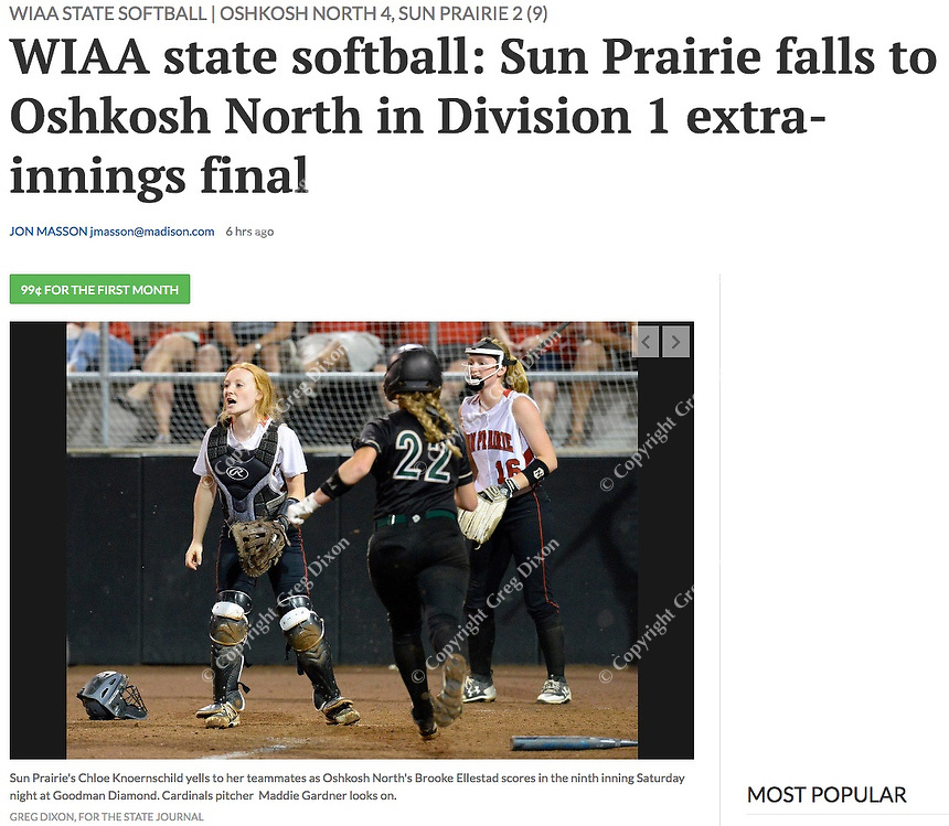 Sun Prairie's catcher, Chloe Knoernschild, yells to the infield as Oshkosh North's Brooke Ellestad scores the 4th run Saturday night, as Sun Prairie pitcher, Maddie Gardner, looks on. Oshkosh North tops Sun Prairie 4-2 in nine innings to win the championship game of the 2019 Division 1 Wisconsin WIAA girls state high school softball tournament on June 8, at Goodman Diamond in Madison, Wisconsin   Wisconsin State Journal article front page Sports 6/9/19 and online at https://madison.com/wsj/sports/high-school/softball/wiaa-state-softball-sun-prairie-falls-to-oshkosh-north-in/article_5f48a15d-cc0e-5d40-bec5-aa0ac3fb6a21.html