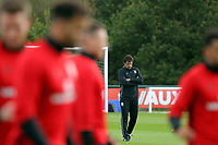 Pictured: Manager Chris Coleman watches his players train. Monday 02 October 2017<br />Re: Wales football training, ahead of their FIFA Word Cup 2018 qualifier against Georgia, Vale Resort, near Cardiff, Wales, UK.