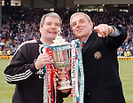 Archie Knox and Walter Smith guard the Scottish Cup after Rangers victory at Hampden in 1995-96