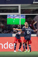 FOXOBOROUGH, MA - AUGUST 21: New England Revolution celebrate the goal of Emmanuel Boateng #11 of New England Revolution during a game between FC Cincinnati and New England Revolution at Gillette Stadium on August 21, 2021 in Foxoborough, Massachusetts.