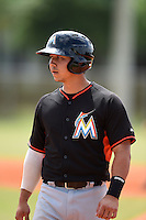 Miami Marlins catcher Sharif Othman (16) during a minor league spring training game against the New York Mets on March 28, 2014 at the Roger Dean Stadium Complex in Jupiter, Florida.  (Mike Janes/Four Seam Images)