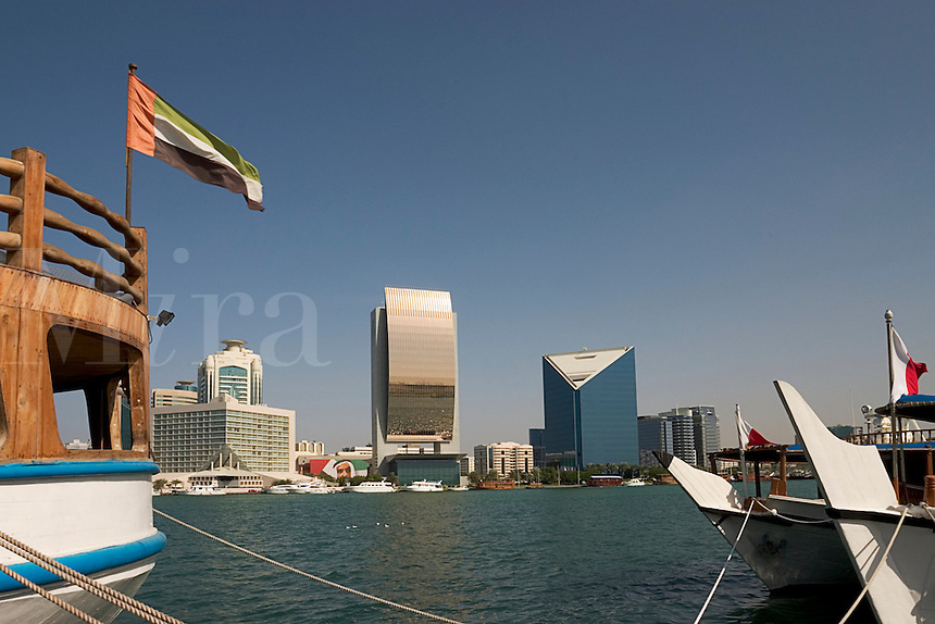 Dubai, United Arab Emirates. Dubai Creek and commercial waterfront offices, hotels, etc. Bank of Dubai.  Chamber of Commerce..