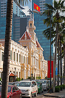 City Hall and general and interesting street scenes in Ho Chi Minh City.<br /> Saigon or in Vietnamese Ho Chi Minh City street life where old and new architecture mix in harmony. The bustling Metropolis of South Vietnam.