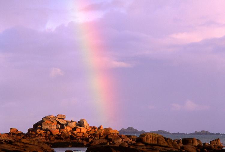 Europe, FRA, France, Brittany, Tregastel, Cote de Granite Rose, Rainbow, Rocky Coast