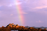 Europe, FRA, France, Brittany, Tregastel, Cote de Granite Rose, Rainbow, Rocky Coast
