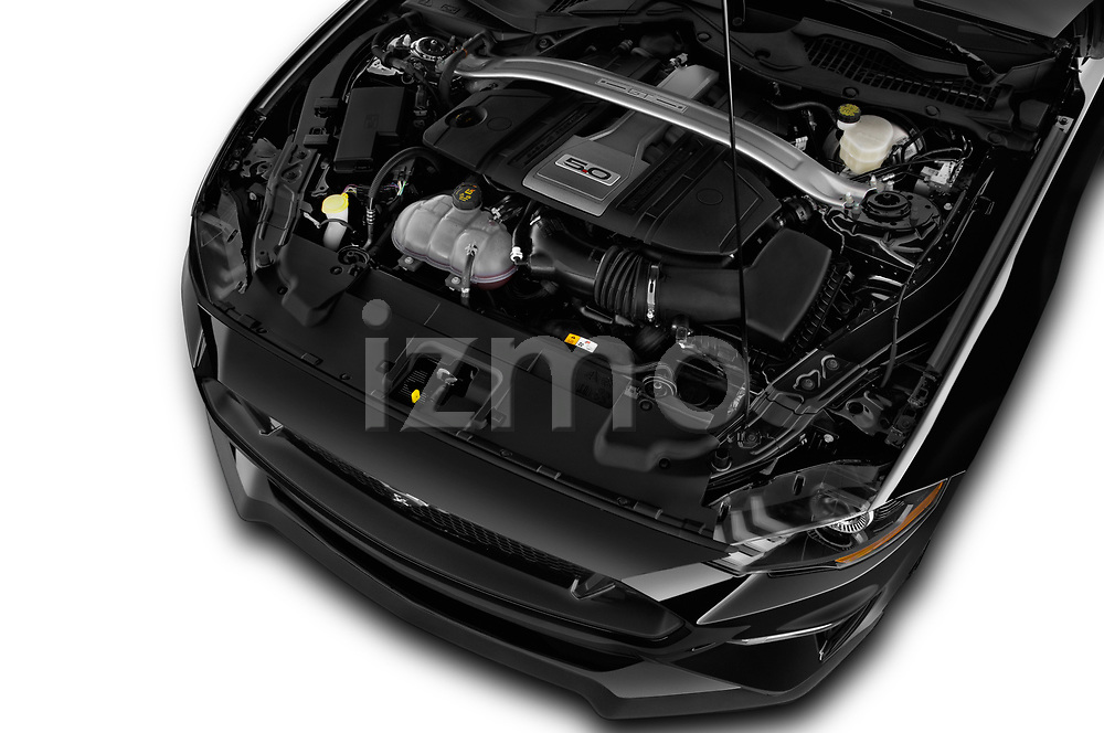 Car stock 2018 Ford Mustang GT 2 Door Coupe engine high angle detail view