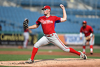 Jeff Belge (48) of Henninger High School in Syracuse, New York playing for the Philadelphia Phillies scout team during the East Coast Pro Showcase on August 1, 2014 at NBT Bank Stadium in Syracuse, New York.  (Mike Janes/Four Seam Images)