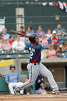 Potomac Nationals second baseman Bryan Mejia (2) at bat during a game against the Myrtle Beach Pelicans at Ticketreturn.com Field at Pelicans Ballpark on July 1, 2018 in Myrtle Beach, South Carolina. Myrtle Beach defeated Potomac 6-1. (Robert Gurganus/Four Seam Images)
