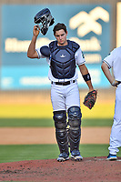 Asheville Tourists CJ Stubbs (15) during a game against the Aberdeen IronBirds on June 16, 2021 at McCormick Field in Asheville, NC. (Tony Farlow/Four Seam Images)