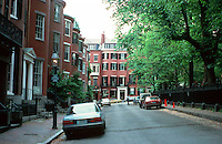 Boston:  Louisburg Square, West side.  Various architects, 1839-1847. Houses here are multi-story.  Photo '88.