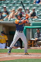 Greg Deichmann (7) of the Las Vegas Aviators at bat against the Salt Lake Bees at Smith's Ballpark on June 27, 2021 in Salt Lake City, Utah. The Aviators defeated the Bees 5-3. (Stephen Smith/Four Seam Images)