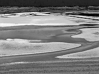 """""""Medicine Lake"""" <br /> Jasper National Park; Alberta, Canada<br /> <br /> Medicine Lake is a shallow lake southeast of the town of Jasper in Jasper National Park. My goal for this photo was to emphasize abstract shapes of the water, gravel and mud. This photo was recorded from the roadside next to the lake."""