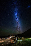 Cart and milky way at night, Torres del Paine National Park, Patagonia, Chile