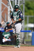 Vermont Lake Monsters catcher Andy Paz (35) during a game against the Jamestown Jammers on July 13, 2014 at Russell Diethrick Park in Jamestown, New York.  Jamestown defeated Vermont 6-2.  (Mike Janes/Four Seam Images)