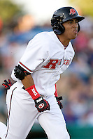 Frisco Roughriders outfielder Leonys Martin #20 sprints to first during the Texas League All Star Game played on June 29, 2011 at Nelson Wolff Stadium in San Antonio, Texas. The South All Star team defeated the North All Star team 3-2. (Andrew Woolley / Four Seam Images)