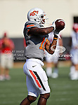Oklahoma State Cowboys wide receiver Elliott Jeffcoat (18) in action during the game between the Louisiana-Lafayette Ragin Cajuns and the Oklahoma State Cowboys at the Boone Pickens Stadium in Stillwater, OK. Oklahoma State defeats Louisiana-Lafayette 61 to 34.