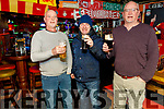 Joe Goodall, James McCarthy and Mike Goodall. enjoying their last pint in the Huddle Bar on Sunday.