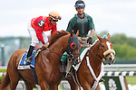 June 8, 2013. Puget Sound, Cornelio Velasquez up, join the post parade for the Easy Goer Stakes. #2 Power Broker, Rosie Napravnik up, wins race six, The Easy Goer, one mile and three sixteenths, for three-year-olds. Belmont Park, Elmont, New York (Joan Fairman Kanes/Eclipse Sportswire)