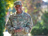 Off-duty US Army African American man, model-released, stock photo, DoD complient, for sale, for advertising