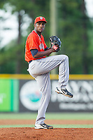 Greeneville Astros starting pitcher Reymin Guguan (29) in action against the Burlington Royals at Burlington Athletic Park on June 30, 2014 in Burlington, North Carolina.  The Royals defeated the Astros 9-8. (Brian Westerholt/Four Seam Images)