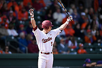 Center fielder TJ Hopkins (5) of the South Carolina Gamecocks prepares to bat against the Clemson Tigers on Saturday, March 2, 2019, at Fluor Field at the West End in Greenville, South Carolina. Clemson won, 11-5. (Tom Priddy/Four Seam Images)