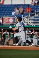 West Virginia Black Bears Brett Kinneman (5) bats during a NY-Penn League game against the Batavia Muckdogs on June 26, 2019 at Dwyer Stadium in Batavia, New York.  Batavia defeated West Virginia 4-2.  (Mike Janes/Four Seam Images)